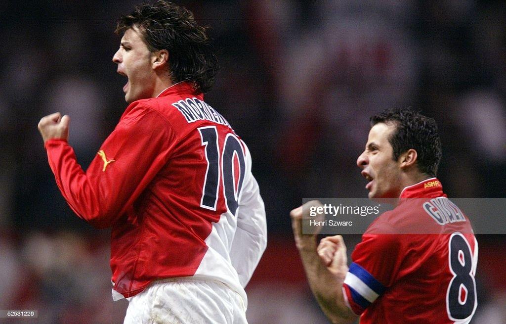 Champions League 03/04, Viertelfinale / Rueckspiel, Monaco; AS Monaco - Real Madrid 3:1; Jubel Fernando MORIENTES, Ludovic GIULY / Monaco 06.04.04.