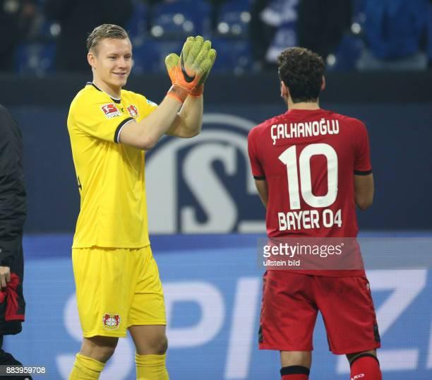 Fussball GER 1 Bundesliga Saison 2016 2017 14 Spieltag Jubel Torwart Bernd Leno li und Hakan Calhanoglu