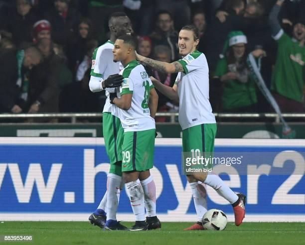 Fussball GER 1 Bundesliga Saison 2016 2017 15 Spieltag Jubel Lamine Sané Lamine Sane Serge Gnabry Max Kruse vli