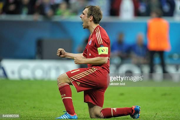 Fussball Saison 20112012 UEFA Champions League Finale FC Bayern München FC Chelsea 45 nE Jubel Philipp Lahm nach seinem verwandeltem Elfmeter
