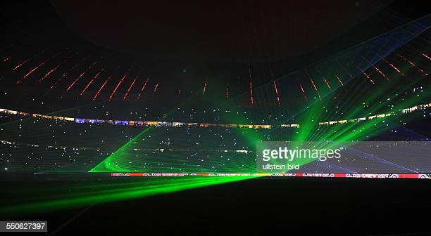 Fussball Saison 20132014 1 Bundesliga 16 Spieltag FC Bayern Muenchen Hamburger SV Lasershow nach dem Spiel in der Allianz Arena