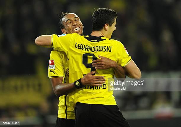 Fussball Saison 20132014 1 Bundesliga 5 Spieltag Borussia Dortmund Hamburger SV 62 vli PierreEmerick Aubameyang Robert Lewandowski