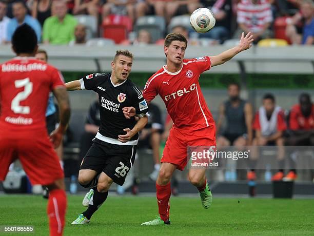 Fussball Saison 20132014 2 Bundesliga 1 Spieltag Fortuna Düsseldorf Energie Cottbus Dustin Bomheuer re gegen Erik Jendrisek