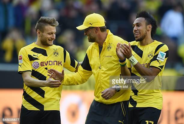 Fussball Saison 2014/15 1 Bundesliga 29 SpieltagBorussia Dortmund SC Paderborn 30vli Ciro Immobile Trainer Juergen Klopp Jürgen Klopp PierreEmerick...