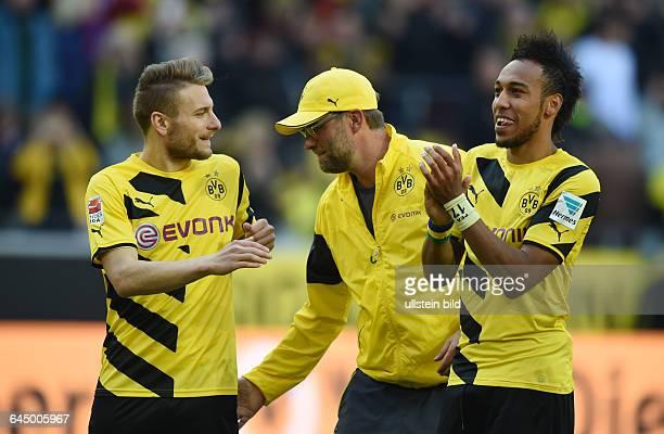 Fussball Saison 2014/15 1 Bundesliga 29 SpieltagBorussia Dortmund SC Paderborn 30Poklapser von Trainer Juergen Klopp Jürgen Klopp mi für Ciro...