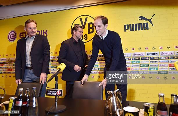 Fussball Saison 2015/16 1 Bundesliga Pressekonferenz Vorstellung von Thomas Tuchel als neuer Trainer von Borussia Dortmundvre Trainer Thomas Tuchel...