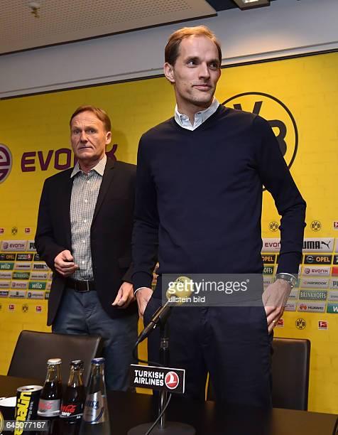Fussball Saison 2015/16 1 Bundesliga Pressekonferenz Vorstellung von Thomas Tuchel als neuer Trainer von Borussia DortmundTrainer Thomas Tuchel re...