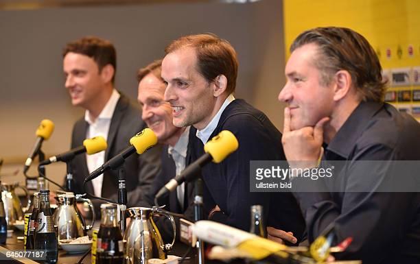 Fussball Saison 2015/16 1 Bundesliga Pressekonferenz Vorstellung von Thomas Tuchel als neuer Trainer von Borussia Dortmund02vre Manager Michael Zorc...