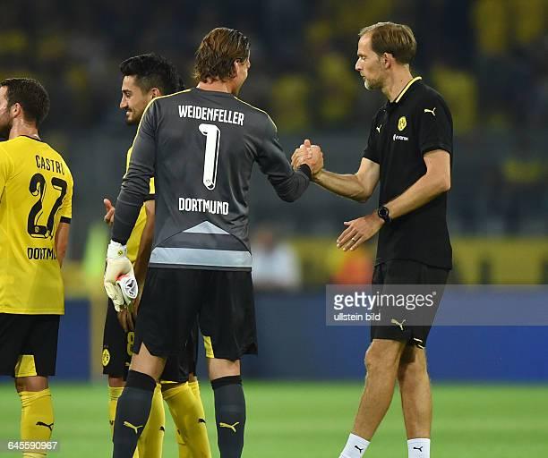 Fussball Saison 2015/2016 Europa League Qualifikation 3 RundeBorussia Dortmund Wolfsberger AC 50Trainer Thomas Tuchel re und Torwart Roman...