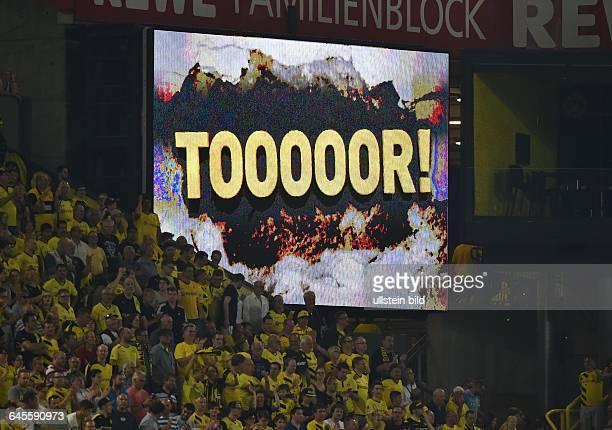 Fussball Saison 2015/2016 Europa League Qualifikation 3 RundeBorussia Dortmund Wolfsberger AC 50Anzeigentafel im SignalIdunaPark nach einem Torerfolg...