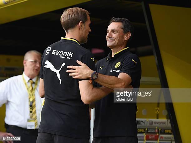 Fussball Saison 2015/2016 Europa League Qualifikation 3 RundeBorussia Dortmund Wolfsberger AC 50Trainer Thomas Tuchel li und Co Trainer Arno Michels...