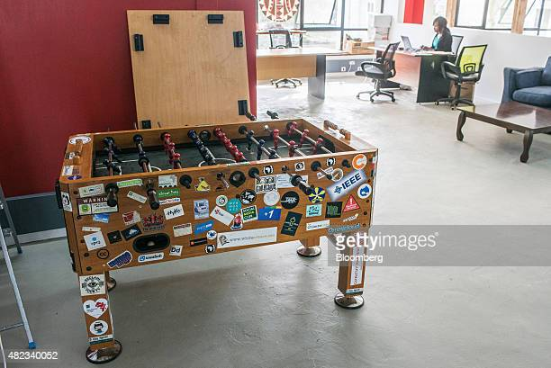 A fussball table sits available for leisure time on a work floor at the iHub technology innovation center in Nairobi Kenya on Thursday July 23 2015...
