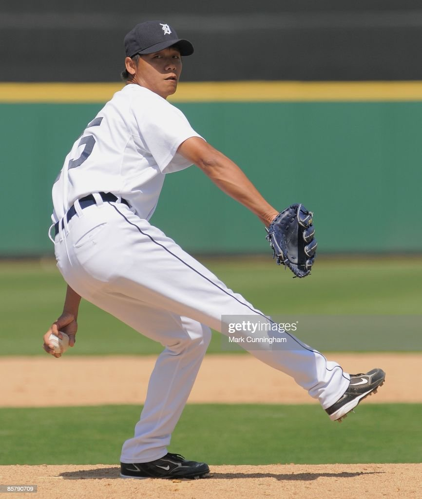 FuTe Ni of the Detroit Tigers pitches against the Washington Nationals during the spring training game at Joker Marchant Stadium on March 20 2009 in...