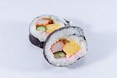 Futomaki sushi on white background