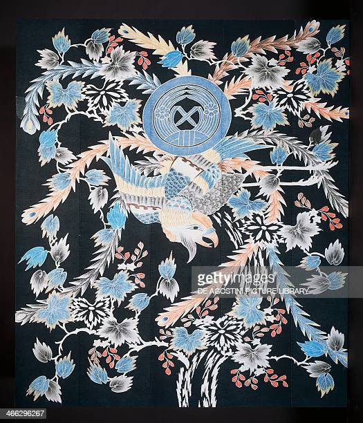 Futonji bedspread with motifs of phoenix paulownia and daffodils cotton dye with indigo pigment and ink 178x152 cm Japanese civilisation TaishoShowa...