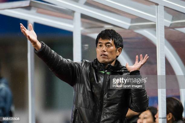Futoshi Ikeda Head Coach of Japan gestures during their AFC U19 Women'u2019s Championship 2017 Group Stage B match between Japan and Vietnam at...
