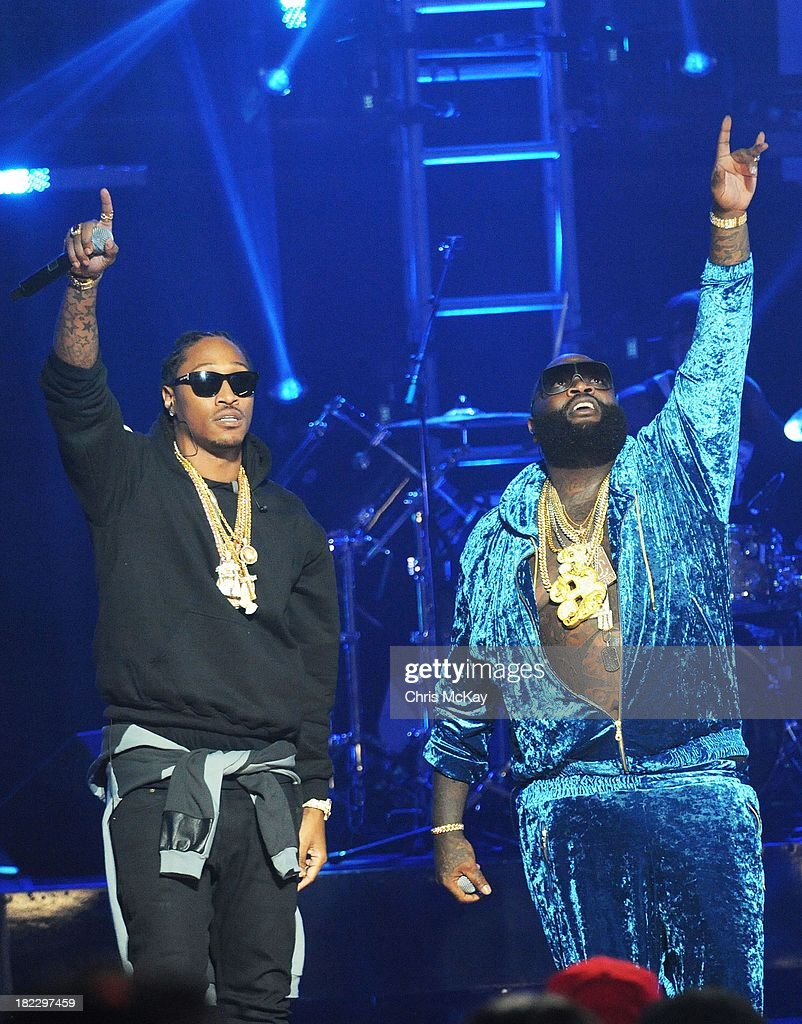 Future and Rick Ross perform during the BET Hip Hop Awards 2013 at the Boisfeuillet Jones Atlanta Civic Center on September 28, 2013 in Atlanta, Georgia.