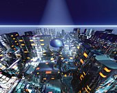 Future City and Sphere, CG, 3D, High Angle View