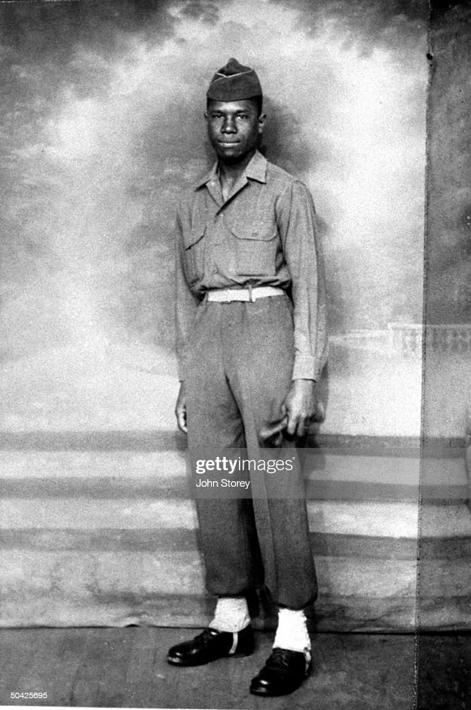 Future civil rights leader <a gi-track='captionPersonalityLinkClicked' href=/galleries/search?phrase=Medgar+Evers&family=editorial&specificpeople=1132268 ng-click='$event.stopPropagation()'>Medgar Evers</a> posing in his army uniform in Charbourg, France; he was slain 28 yrs, later by accused killer Byron de la Beckworth who was acquitted by mistrial.