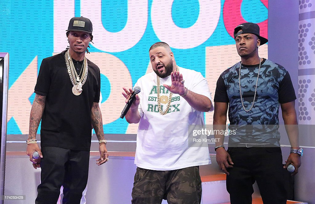 Future, <a gi-track='captionPersonalityLinkClicked' href=/galleries/search?phrase=DJ+Khaled&family=editorial&specificpeople=577862 ng-click='$event.stopPropagation()'>DJ Khaled</a> and <a gi-track='captionPersonalityLinkClicked' href=/galleries/search?phrase=Mystikal&family=editorial&specificpeople=2079736 ng-click='$event.stopPropagation()'>Mystikal</a> at BET's 106 and Park at BET Studios on July 22, 2013 in New York City.