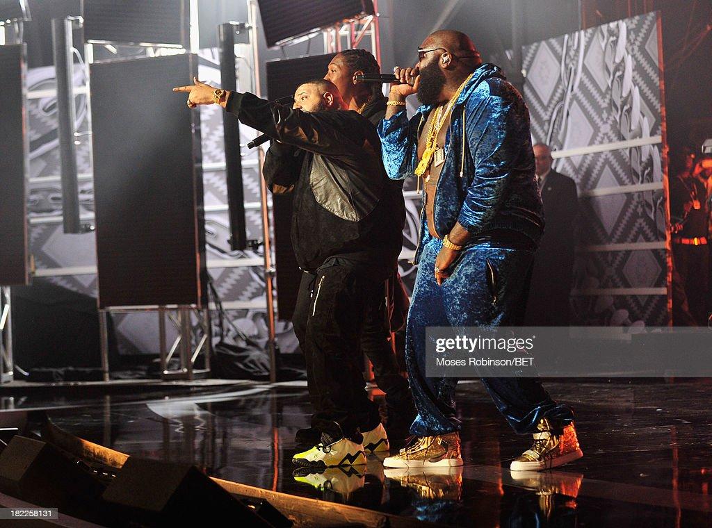 Future, DJ Khaled and Rick Ross perform onstage at the BET Hip Hop Awards 2013 at Boisfeuillet Jones Atlanta Civic Center on September 28, 2013 in Atlanta, Georgia.