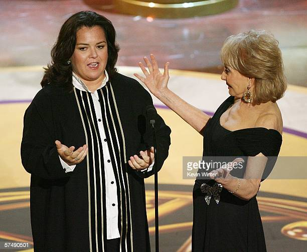 Future host of 'The View' Rosie O'Donnell and television personality Barbara Walters onstage during the 33rd Annual Daytime Emmy Awards held at the...