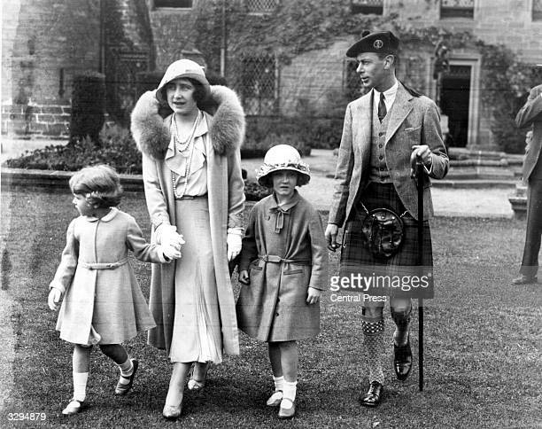 Future King and Queen George Duke of York and Elizabeth Duchess of York with their daughters Princesses Elizabeth and niece Diana at Glamis Castle in...