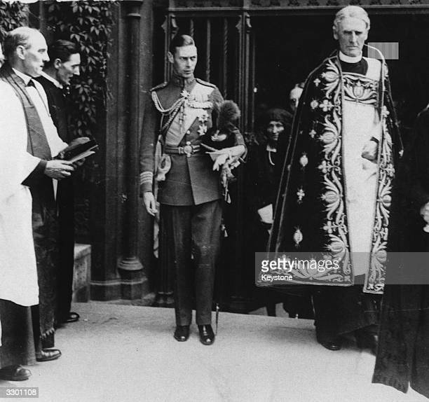 Future King of Britain George Duke of York taking part in a religious ceremony
