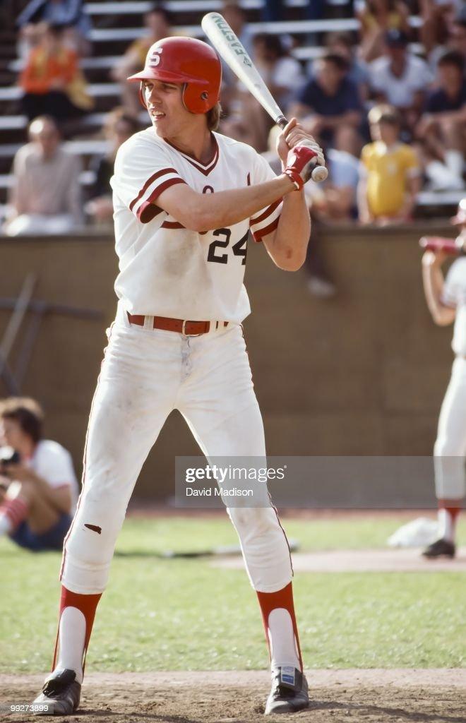 Future NFL quarterback John Elway of Stanford University at bat during an NCAA baseball game against USC in April 1980 at Sunken Diamond stadium in...