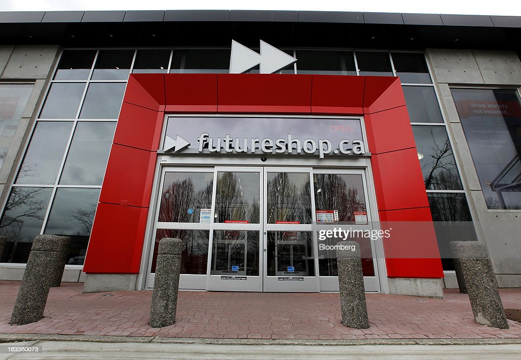 Future Shop signage is displayed above the entrance to a store in Vancouver, British Columbia, Canada, on Thursday, March 7, 2013. Future Shop, Canada's largest consumer electronics retailer, offers home and entertainment products, including televisions, computers, cameras, MP3 players, video games, computer add-ons, software, and audo and video systems. Photographer: Deddeda White/Bloomberg via Getty Images