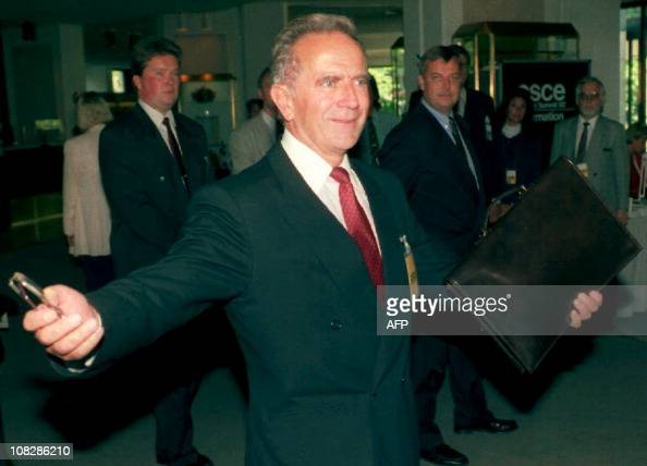 Future Yugoslav Prime Minister Milan Panic makes a surprise entrance on the second and last day of the CSCE Summit in Helsinki July 10 on his way to...