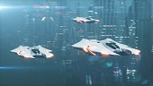 Futuristic 3d illustration, the flight of aircraft on the tech city in the fog