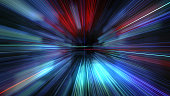 super fast motion blur of light ray for background design. Travel science fiction wormhole at warp speed. 3D rendering