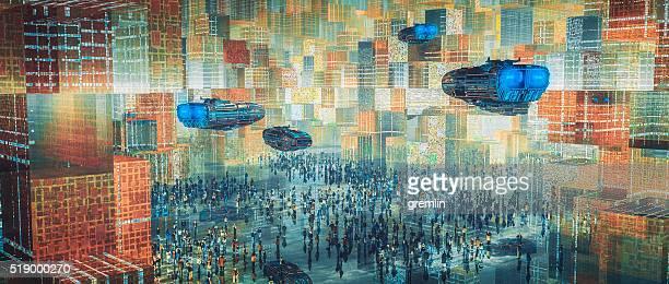 Concetto futuristico paesaggio urbano architettonico