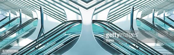 Futuristic architecture with escalators