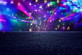 Futuristic background of the 80s retro style. Digital or Cyber Surface. neon lights and geometric pattern , test screen glitch