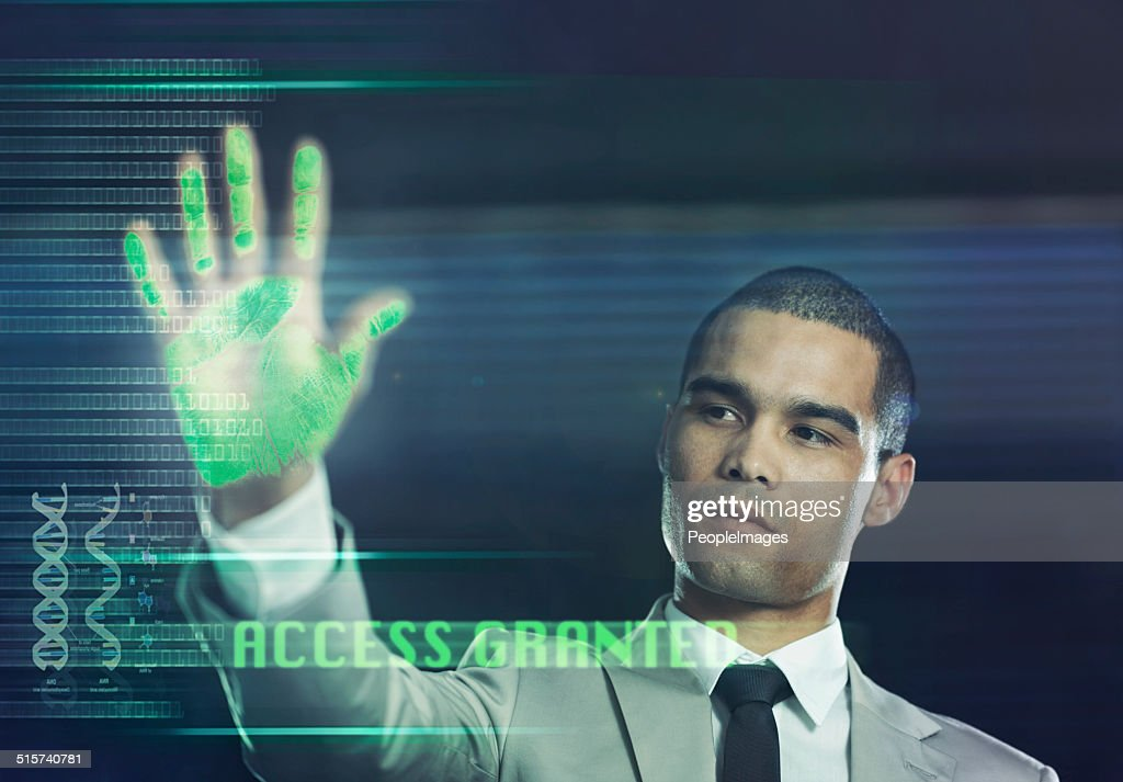 Futuristic biometric scanner : Stock Photo