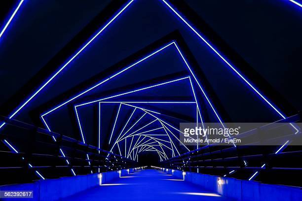 Futuristic Bridge With Blue Light Pattern