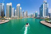 Futuristic buildings in luxury Dubai Marina,United Arab Emirates