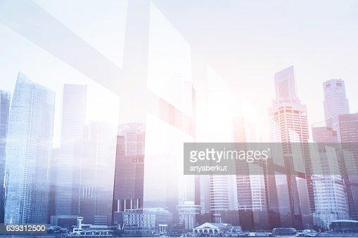 futuristic business background, office window : Stock Photo
