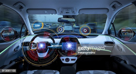 Futuristic car cockpit. Autonomous car. Driverless vehicle. HUD(Head up display). GUI(Graphical User Interface). IoT(Internet of Things). : Stock Photo