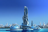 3D futuristic city with an organic high rise architecture against a marina skyline, for fantasy and science fiction illustrations.
