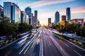 Futuristic city at dusk