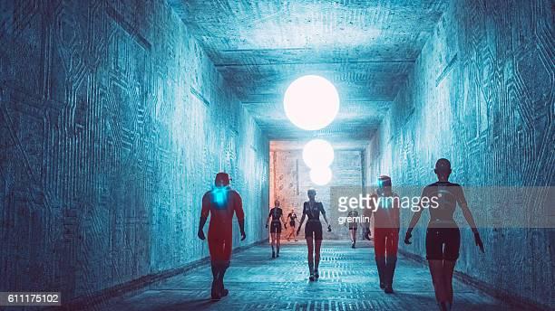 Futuristic city corridor