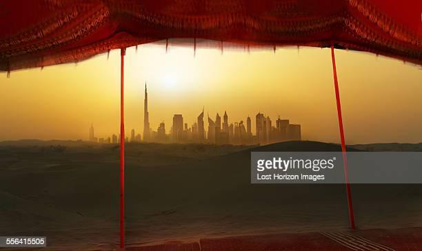 Futuristic cityscape from bedouin tent, Dubai, United Arab Emirates