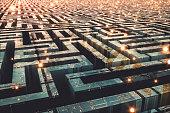 Futuristic cityscape maze.