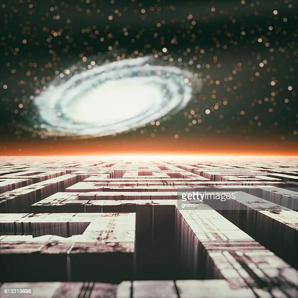 Futuristic cityscape maze