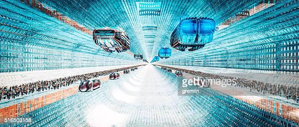 Futuristic cityscape transportation concept