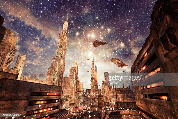 Futuristic cityscape with dense architecture and flying aircrafts