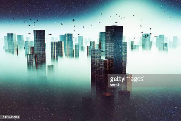 Futurista paisaje urbano con vuelo dirigibles, niebla